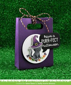 Lawn Fawn - Spooktacular + coordinating dies, Sweater Weather (tiny leaf), A Birdie Told Me Coordinating die, Stitched Party Banners, Goodie Bag, Spooky Lawn Trimmings _ goodie bag by Kelly for Lawn Fawn Design Team