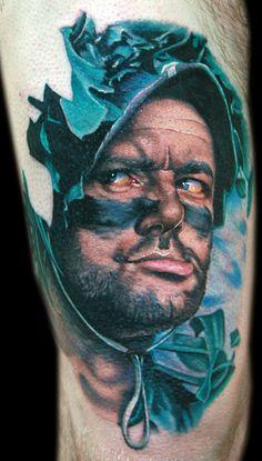 Realistic 3 colors Face tattoo art by Cecil Porter Time Tattoos, Body Art Tattoos, Portrait Tattoos, Tatoos, Movie Tattoos, Watch Tattoos, Bill Murray, Inked Magazine, Tattoo Bills