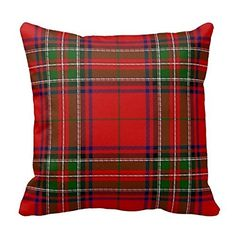 Red and Green Plaid Gingham Chess Pattern Square Throw Pi...