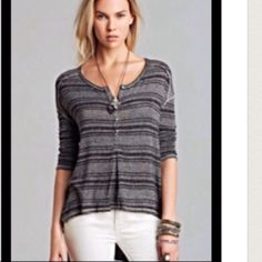 Free People Sweater Free People Sweater. Light knit with stripes in black and grey. The fit is definitely longer than pictured. Hi-low hem. Free People Sweaters