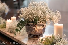 Babysbreath in vintage containers