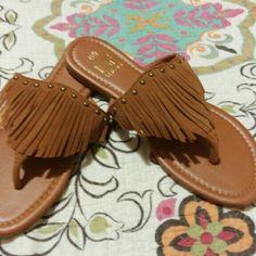 SOLD-NEW Faux suede fringe sandals sz. 6 1/2 6.5 Brand new, super cute! Size 6 1/2. Shoes Sandals