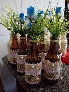 Bridal Shower Decorations Elegant - New ideas Wedding Jars, Wedding Wine Bottles, Beach Wedding Centerpieces, Bridal Shower Decorations, Jute Crafts, Diy Home Crafts, Recycled Crafts, Wine Glass Crafts, Wine Bottle Crafts