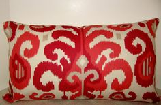 24 x 14 lumbar Modern Ikat pillow cover red coral by playpurdys