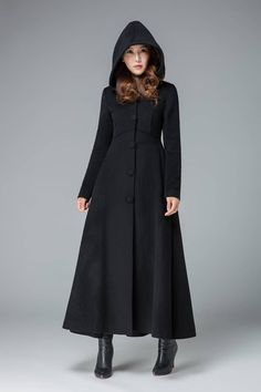 Black winter coat wool coat winter coat warm winter coat hooded coat warm coat long coat wool coat women vintage clothing by xiaolizi Hooded Wool Coat, Long Wool Coat, Long Hooded Coat, Hooded Winter Coat, Maxi Coat, Coat Dress, Dress Outfits, Fashion Outfits, Medieval Clothing