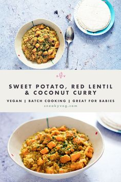 A great source of vegetarian protein, this one pot red lentil and sweet potato coconut curry is mild, tasty and quick to prepare making it a great midweek dinner. Suitable for vegans. #vegancurry #sweetpotatolentilcurry #lentilcurry #dal #vegetarian #vegan