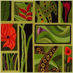 Sandi Garris - hand dyes & art quilt ,,,,oooh that would be great with my red sofa...love the color scheme..red and green, but not Christmas.