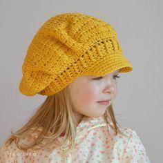 CROCHET NEWSBOY NEWSGIRL HAT PATTERN  visor beret hat by tvorIvka, in 5 sizes: baby, toddler, child, teen, adult for girl and woman