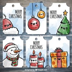 Set of beautiful labels with christmas items Free Vector Christmas Card Crafts, Christmas Drawing, Christmas Items, Christmas Tag, Christmas Design, Xmas Cards, Christmas Ornaments, Cute Cards, Diy Cards