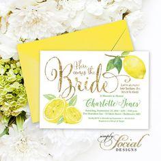 edacac177a2 Lemon Bridal Shower Invitation - Fresh Lemon and Gold Glitter Invitation  Printable Fresh Squeezed Lemonade Main Squeeze