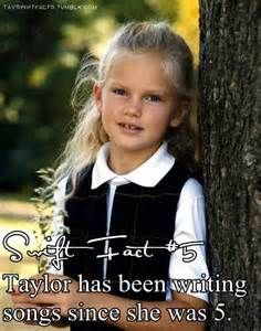 I doubt this is true because didn't she write her first song called 'lucky you' at 12? I'm confused