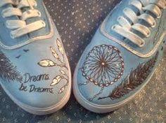 Resultado de imagen de zapatillas pintadas a mano pinterest