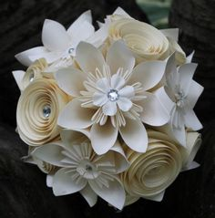 Handmade paper flower bridal bouquet and grooms buttonhole made from ...