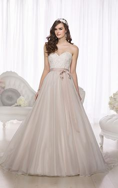 Essense of Australia D1702 - Blush and ivory lace ballgown - Available at Uptown Bridal & Boutique - www.uptownbrides.com