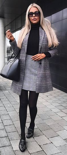 office style addcition / palid coat + black top + bag + skirt + loafers