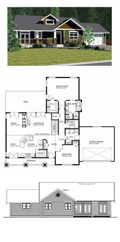 Craftsman House Plan 90877 | Total Living Area: 1537 sq. ft., 2 bedrooms & 2 bathrooms. Comfortable living patterns present themselves in every corner, from the veranda accessible from the nook via French doors to the perfectly situated flex room to the raised eating bar at the very center of the home. #houseplan #craftsmanstyle
