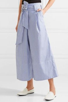 By Malene Birger - Bennih Cropped Striped Cotton-poplin Wide-leg Pants -  Blue - DK