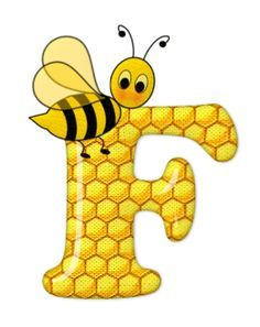 Alphabet letters bee on honeycomb. Alfabeto Animal, Scrapbook Letters, Bee Party, Cute Bee, Alphabet And Numbers, Alphabet Letters, Preschool Crafts, Graphic Illustration, Creations