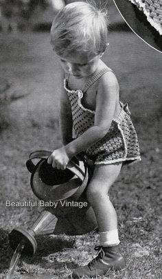 Vintage 1940s Toddlers Bathers Swim Wear Pinafore Dress Bonnet Crochet Patterns
