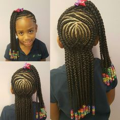 Beautiful Kids Cornrow Hairstyles For Your Girls II.Beautiful Kids Cornrow Hairstyles For Your Girls II Kids Cornrow Hairstyles, Childrens Hairstyles, Lil Girl Hairstyles, Natural Hairstyles For Kids, Princess Hairstyles, Protective Hairstyles, Natural Hair Styles, Little Girl Braid Styles, Kid Braid Styles