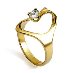 Isis Unique Gold Diamond Engagement Ring, 14k gold, Egyptian Custom Italian jewelry
