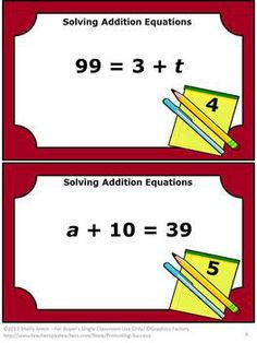 Math Task Cards and More: Solving Addition Equations