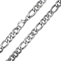 Bling Jewelry Mens 11mm Heavy Figaro Chain Stainless Steel Necklace 30in