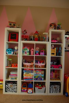 Expedit Bookcases In Girls Playroom Makeover! This Is 3 Expedit on Amazing Playroom Ideas 2990 Kallax, Expedit Bookcase, Ikea Expedit, Bookcases, Craft Room Tables, Ikea Makeover, Cute Curtains, Toy Rooms, Playroom Ideas