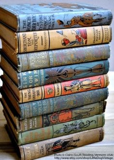 Set of nine antique children's books (circa 1800s, early 1900s) available. Photo © Claire (South Reading, Vermont, USA) via her etsy shop. [Do not remove caption. The law requires you to credit the copyright holder.] by sharene