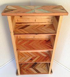 Beautiful Handmade Reclaimed Wood Bookcase with Chevron Stripe Pattern