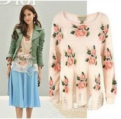 East Knitting Free Shipping AS 068 Women wildfox flower hollow out Roses knitting garment sweater tops-in Pullovers from Apparel & Accessori...