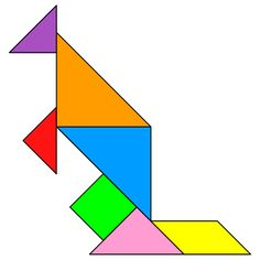 Tangram kangaroo - Tangram solution #138 - Providing teachers and pupils with tangram puzzle activities