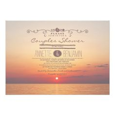 Beach sunset romantic modern couples shower invite