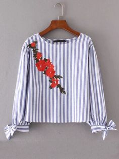 Shop Embroidered Flower Bow Tie Cuff Striped Blouse online. SheIn offers Embroidered Flower Bow Tie Cuff Striped Blouse & more to fit your fashionable needs.