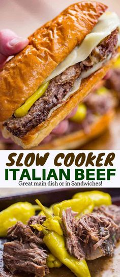 Italian Beef - Dinner, then Dessert Easy Italian Beef served in hoagie rolls for the perfect sandwich your guests will love with all the classic Italian Beef flavors. Crock Pot Recipes, Crock Pot Cooking, Cooking Recipes, Easy Beef Recipes, Healthy Recipes, Italian Beef Recipes, Slow Cooker Italian Beef, Beef In Crockpot, Italian Roast Beef