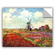 Claude Monet Windmill Removable Wall Art, Size: 14 x 18, Multicolor