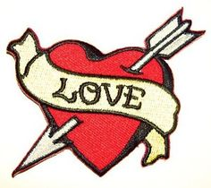 LOVE Heart embroidered iron on patch tattoo Sailor Jerry ...