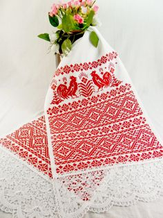 Christmas tablecloth Embroidered Kitchen towel Rooster by FediyS