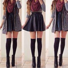 Red infinite scarf + black skirt + grey cardigan + over knee socks