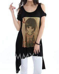 $6.05 Irreguular Hem Off-The-Shoulder Scoop Neck Cartoon Girl And Letter Print Color Block Casual T-Shirt For Women
