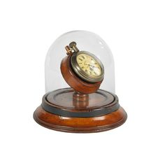 Victorian Dome Watch -Precious moments displayed under a hand blown glass dome. A charming brass replica pocket watch sitting on a warm French finished cherry wood base.