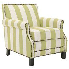 Green and white stripe club armchair.