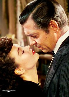 Vivien Leigh and Clark Gable, Gone with the Wind. This is were he gives her that great speech about needing to be kissed!