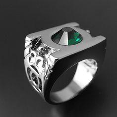 Green lantern stainless steel ring