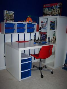 Lego station.  All items from IKEA. (except rolling storage under desk)