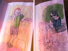 #urbansketch Character Design, Sketches, Urban, Watercolor, Ink, Humor, Books, Livros, Watercolour