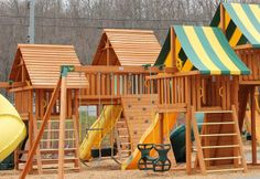 Our swing sets are cedar. They are sanded, and the edges and corners are rounded. The swing sets are factory stained before installation to ensure a safe and long-lasting finish. Swing Set Hardware, Swing Sets, Cabin, House Styles, Home Decor, Swings, Decoration Home, Room Decor, Cabins