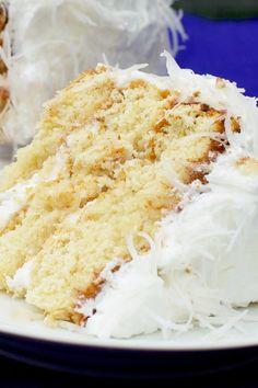 Fresh Coconut Cake with Lemon Cream Cheese Filling