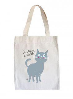 torby na zakupy - damskie-eko torba z kotem