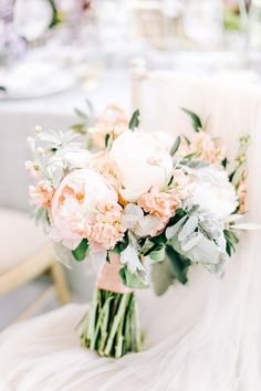 White And Peach Wedding Bouquet With Foliage, Peonies, Stocks And Roses Fairytale Wedding Ideas With Lace Wedding Dress, Peony And David Austin Bouquet And Elegant Tablescape By Charlotte Wise Photography Peach Bouquet, Peony Bouquet Wedding, Fall Wedding Bouquets, Bride Bouquets, Bridal Flowers, Bridesmaid Bouquet, Floral Wedding, White Peonies Bouquet, Spring Flower Bouquet